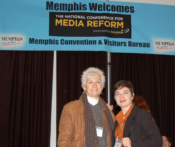 Stevi Carroll and Janice Markham representing Press for Democracy