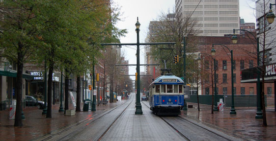Trolley on Main St, Memphis TN